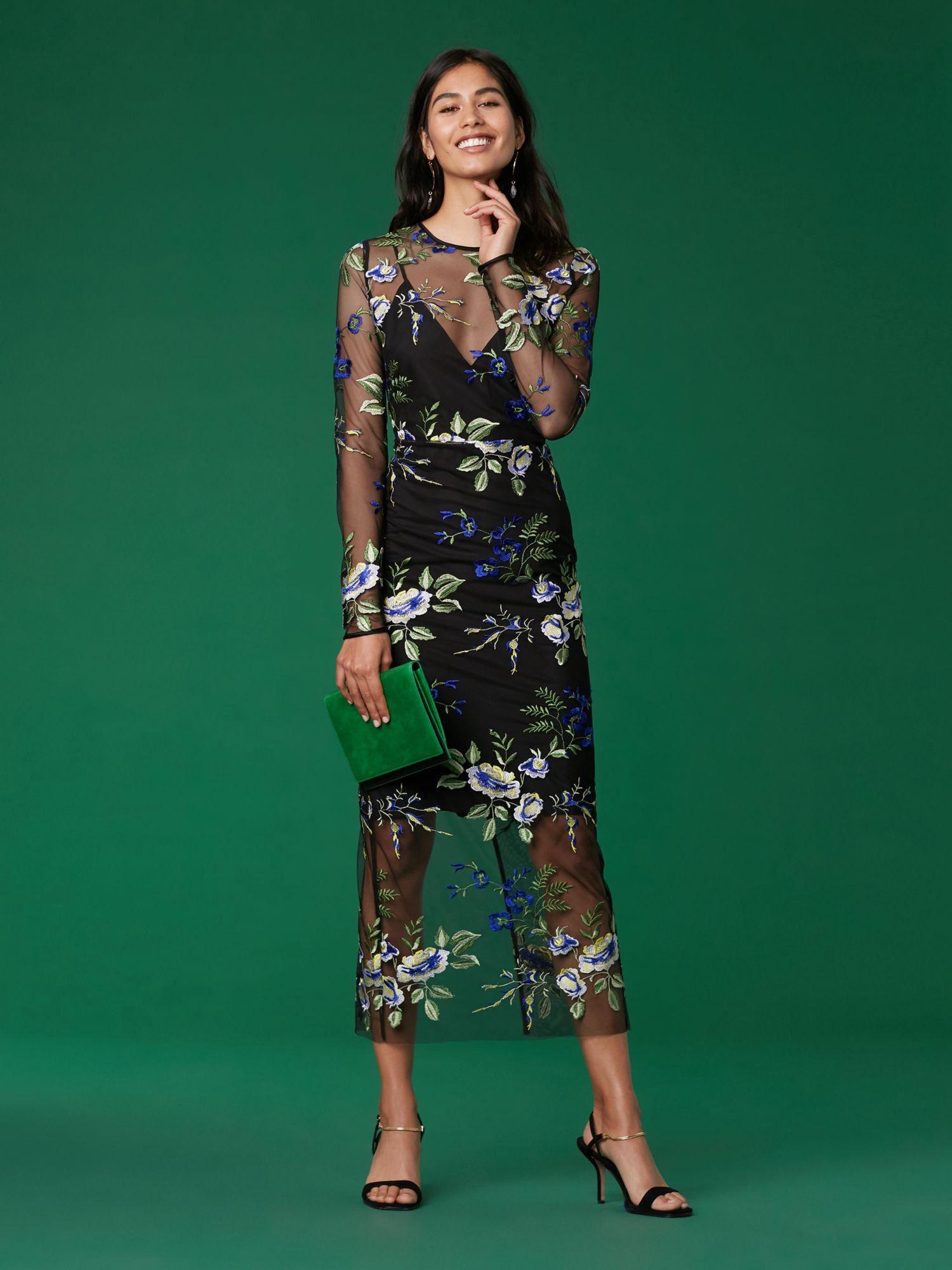 96c39189e5562 Diane Von Furstenberg Dvf Long Sleeve Crew Neck Embroidered Dress - 00
