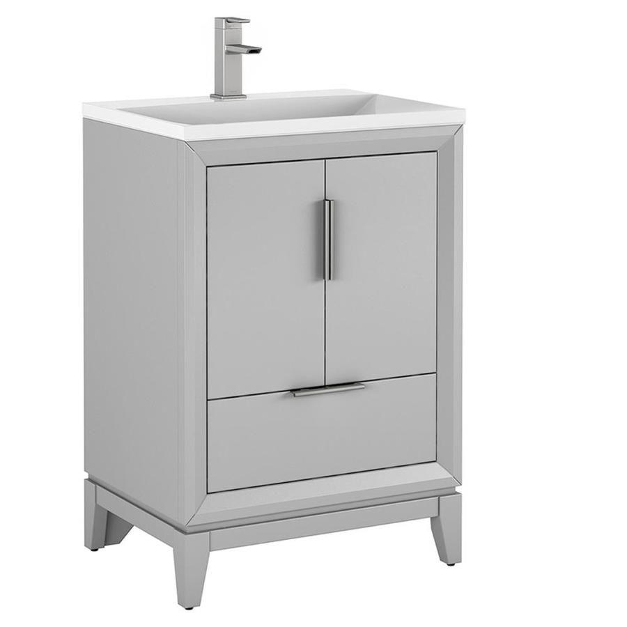 Scott Living Robinson Light Gray Single Sink Vanity With White