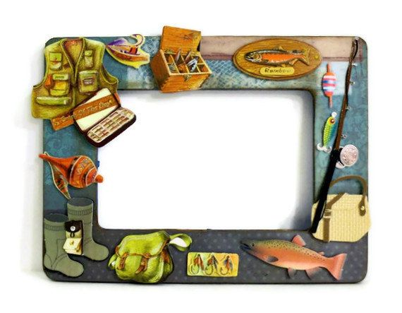 Wooden picture frame gone fishing embellished by for Fishing picture frame