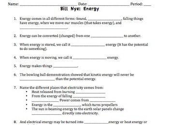 Bill Nye Energy Video Worksheet | Bill nye, Worksheets and Science guy