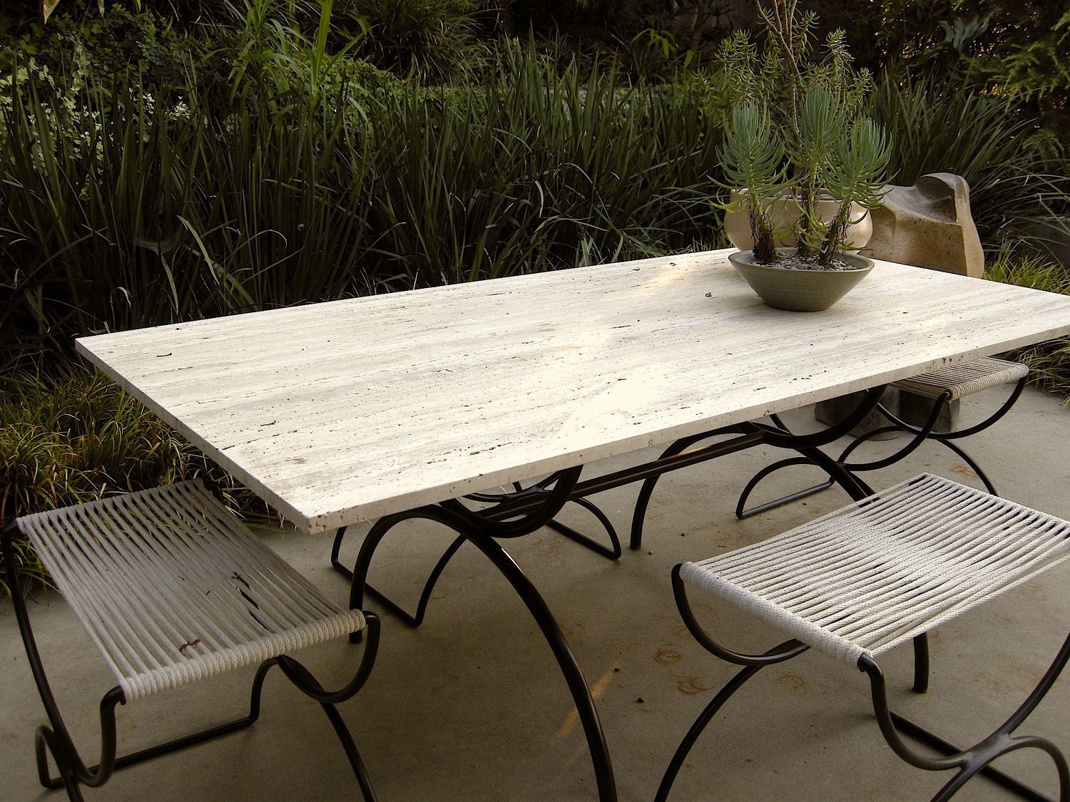 Pompeii Dining Table Travertine And Powder Coated Steel 30 W X 60 L