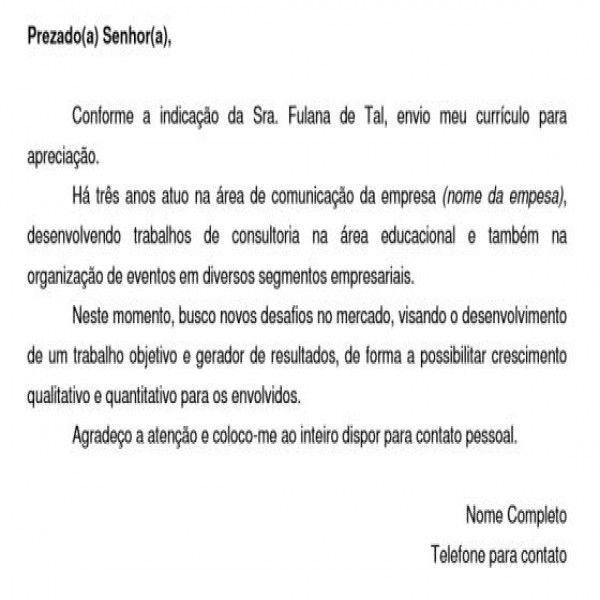 Conhecido Carta de Apresentação para Currículo: Exemplos / Modelos | Lugares  NA76
