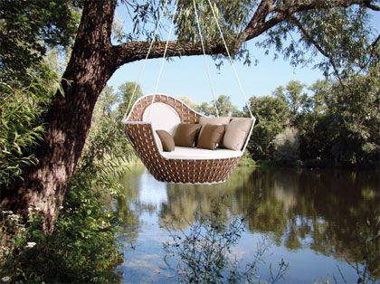The ultimate in relaxing: a hanging loveseat