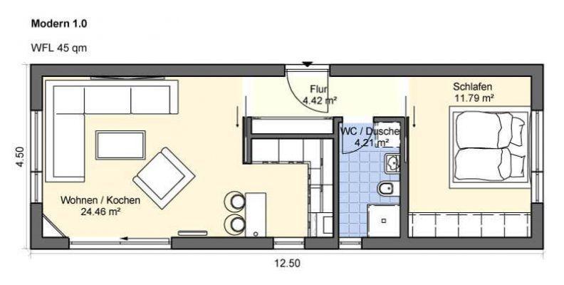Modulhaus Modern 1.0 Haus grundriss, Grundriss wohnung