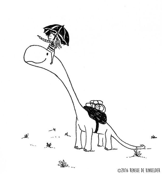 Dinotrip, pen and ink, by Renske de Kinkelder
