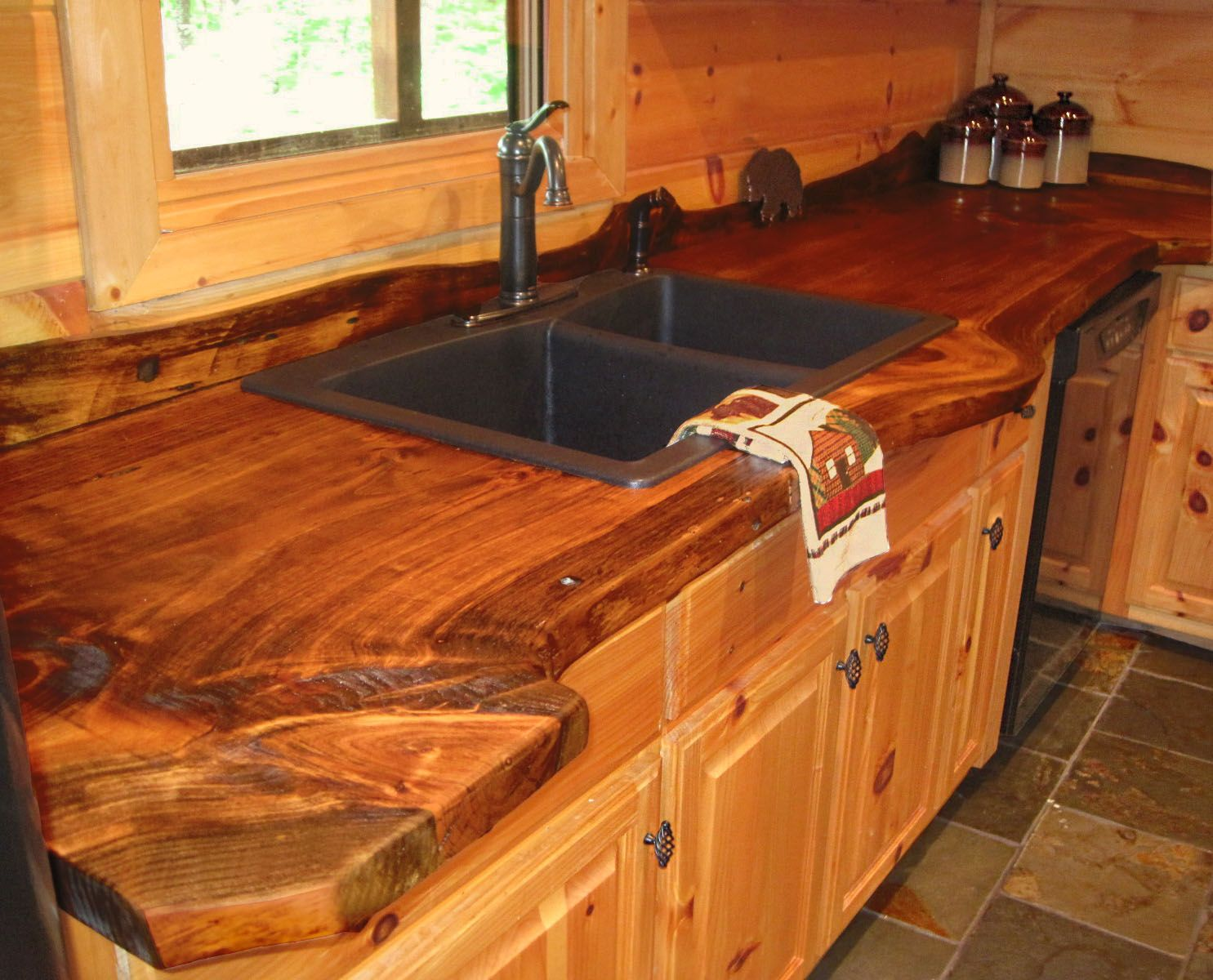 live edge wood countertop in our mountain house -- blue ridge, ga