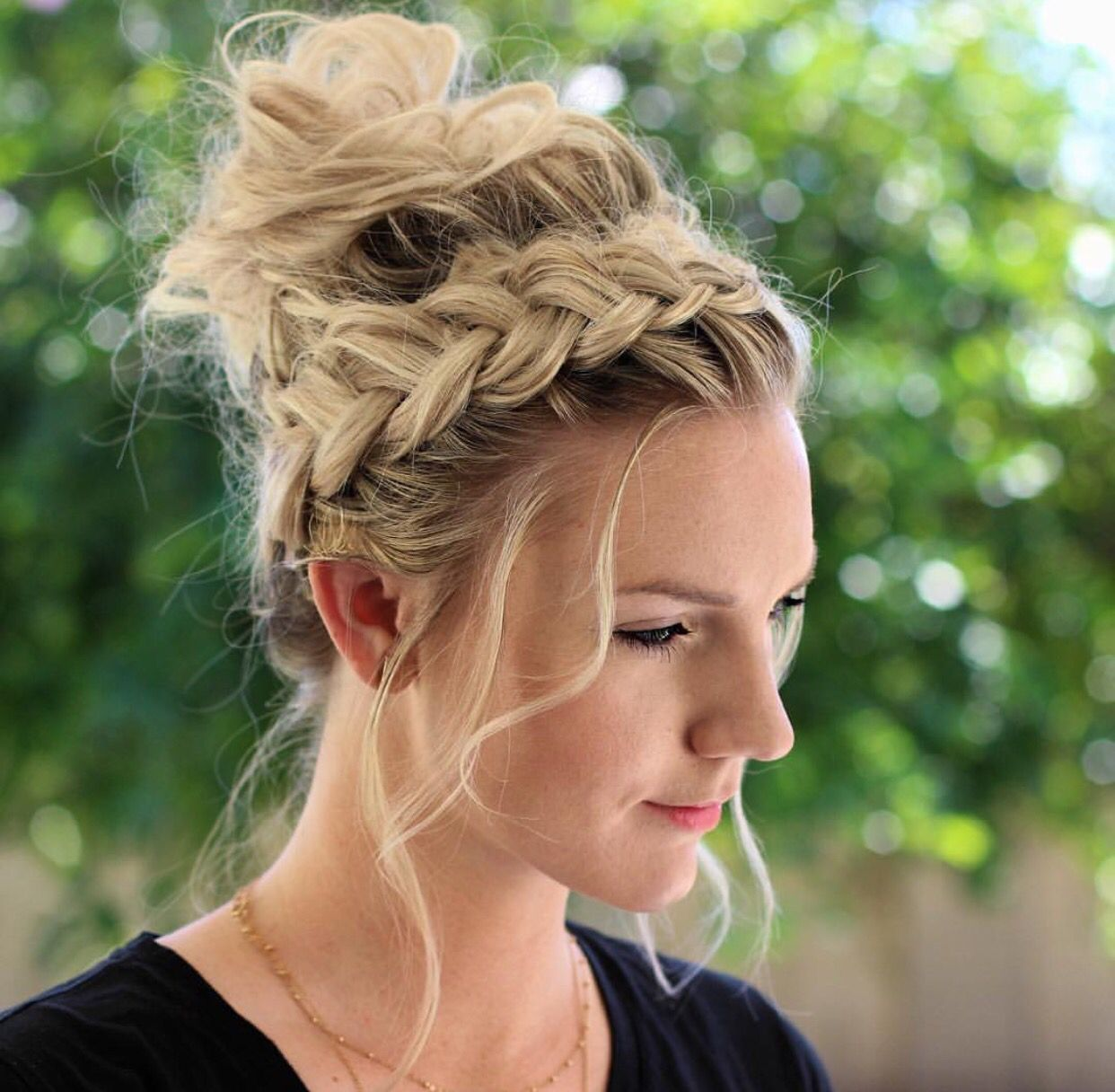 Braided Crown Wedding Hairstyle: How To: Crown Braid + Messy Bun