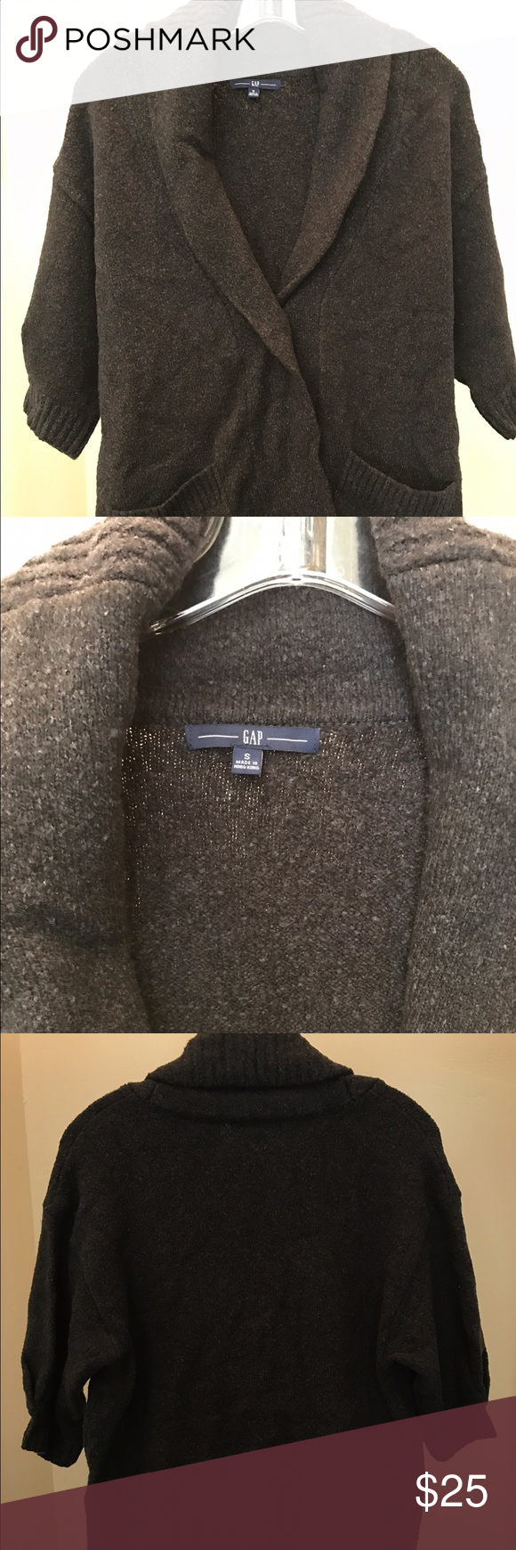 New GAP Size S--CARDIGAN Sweater Charcoal Brown | Sweater cardigan ...
