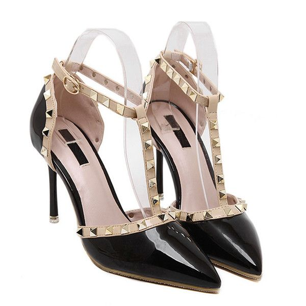 b9c35177b14d SheIn(sheinside) Black Pointed Toe T-shaped Stiletto Heels ( 26) ❤ liked on  Polyvore featuring shoes