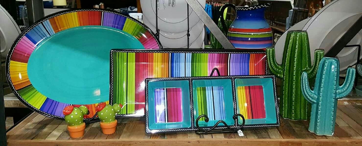 Serape kitchen party platter set from Teskeys. Southwest turquoise ...