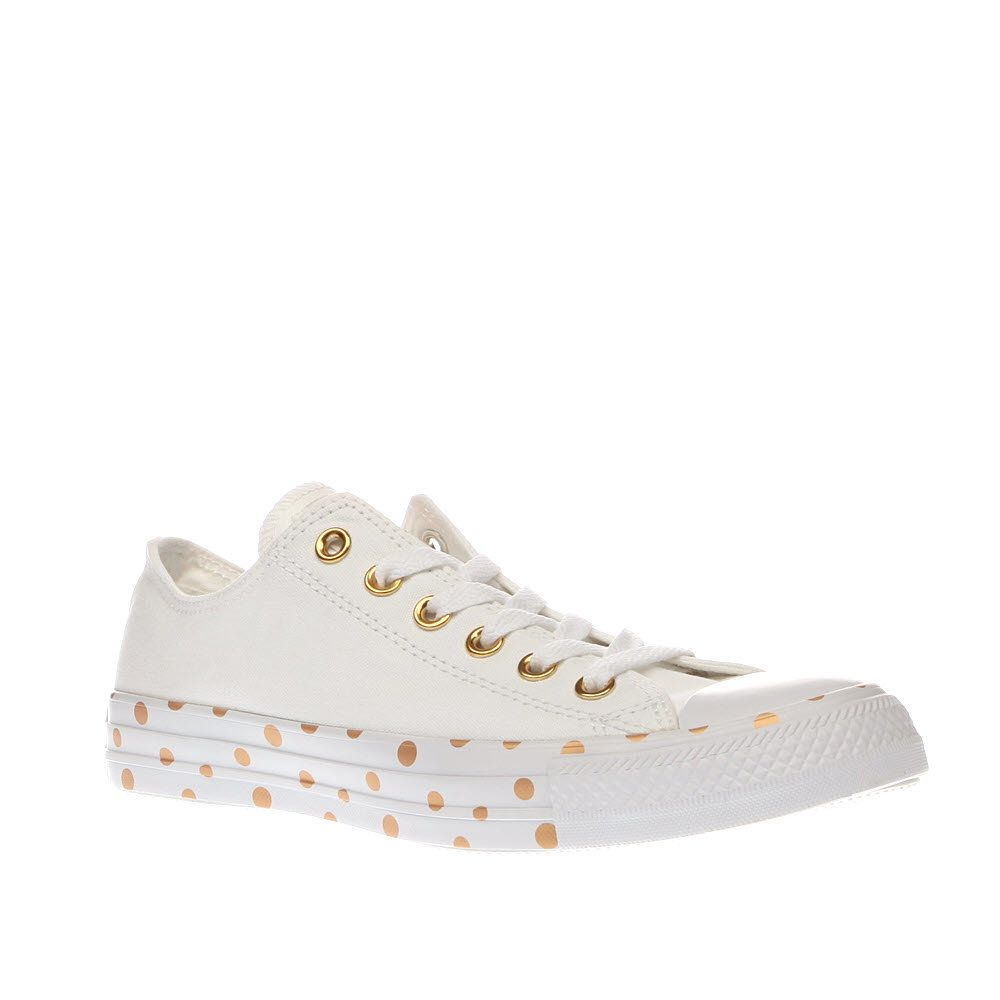 e274e6d1309c99 Womens White   Gold Converse All Star Polka Dot Ox Trainers