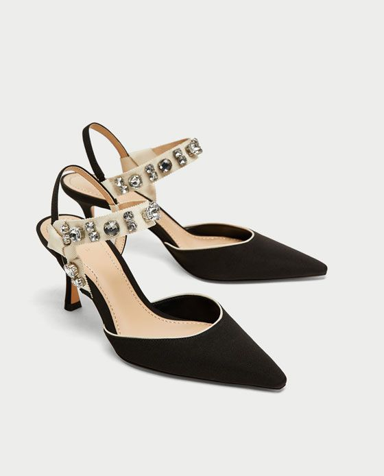 Image 3 of HIGH HEEL SLINGBACK SHOES WITH BEADED DETAIL from Zara ...