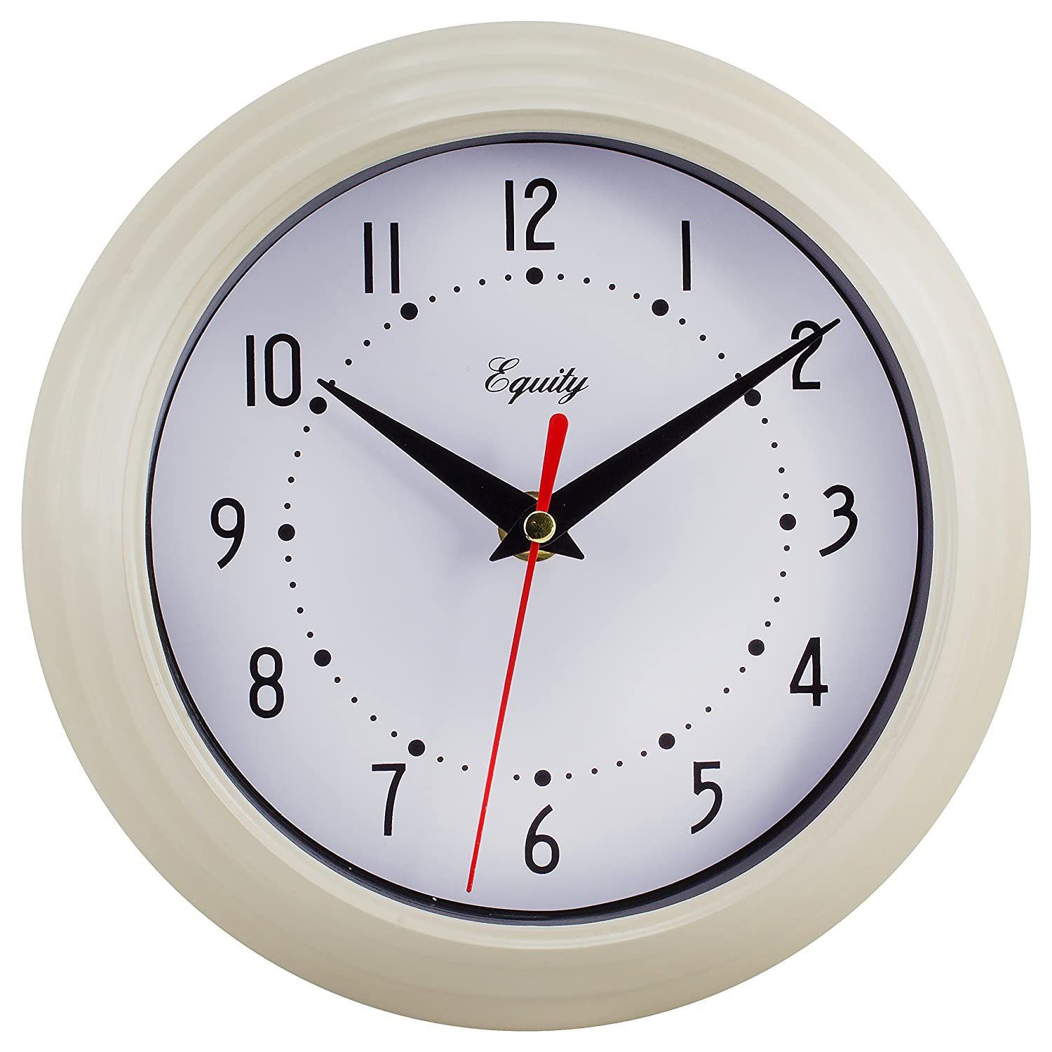 Equity By La Crosse 25015 Round Plastic Analog Wall Clock 8 Almond Beige Read More At The Image Link This Is An Af In 2020 Wall Clock Clock Modern Style Decor