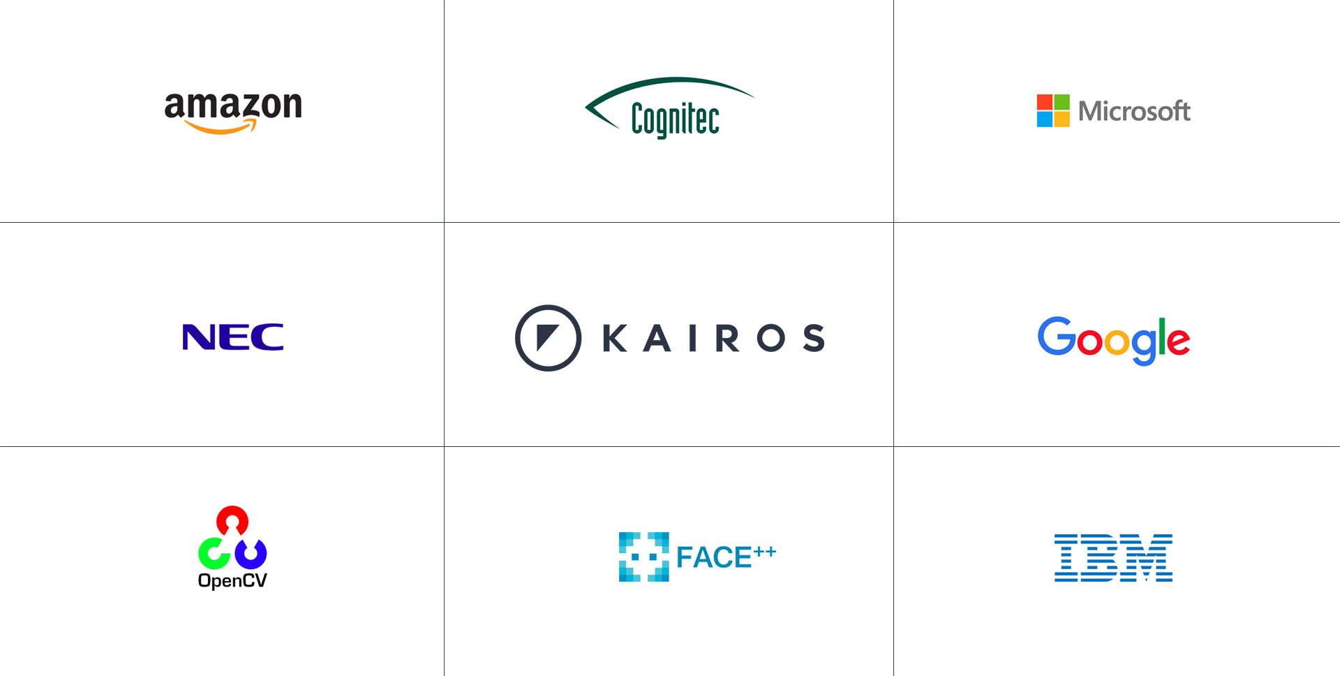 Logos of the best facial recognition companies including