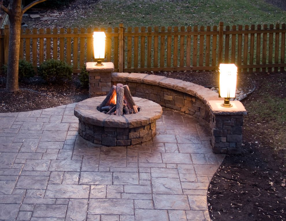 Inspired Stamped Concrete Patio Method Kansas City Traditional Patio  Decorating Ideas With Gas Fire Pit Outdoor