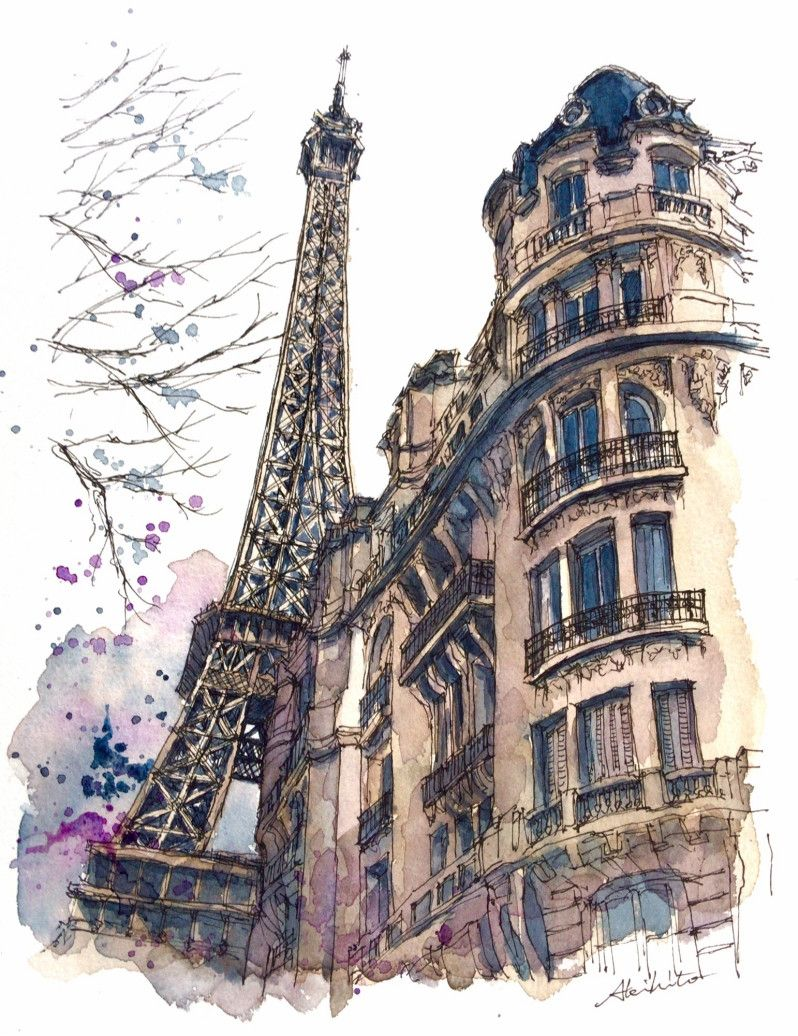 Travelling Drawing And Painting Watercolor Architecture Paris