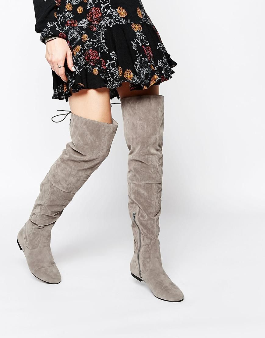 Buy Women Shoes / Daisy Street Grey Flat Over The Knee Boots