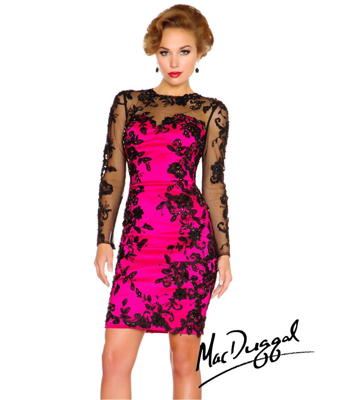 Mac duggal fuchsia taffeta u black lace prom dress unique