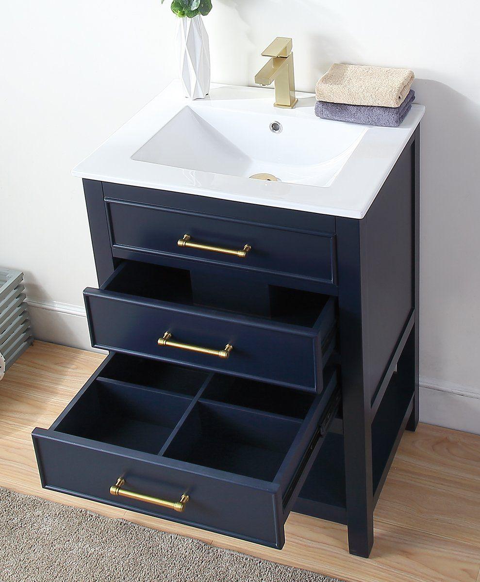 24 Tennant Brand Aruzza Small Slim Narrow Navy Blue Bathroom