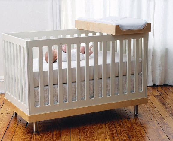 Small Space Solution: Crib With Change Tray : Oeuf Crib And Change Table