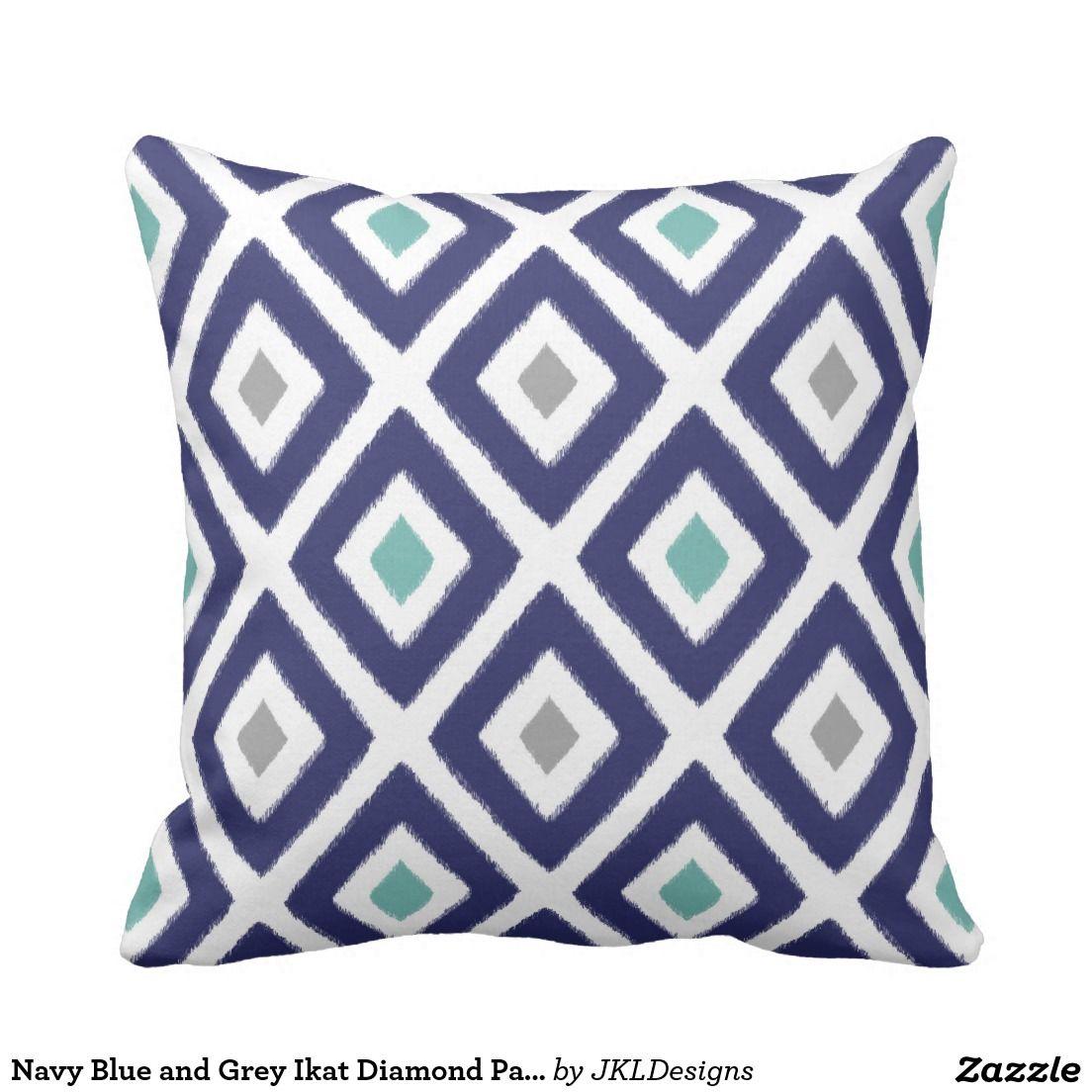 Grey Ikat Diamond Pattern Throw Pillow