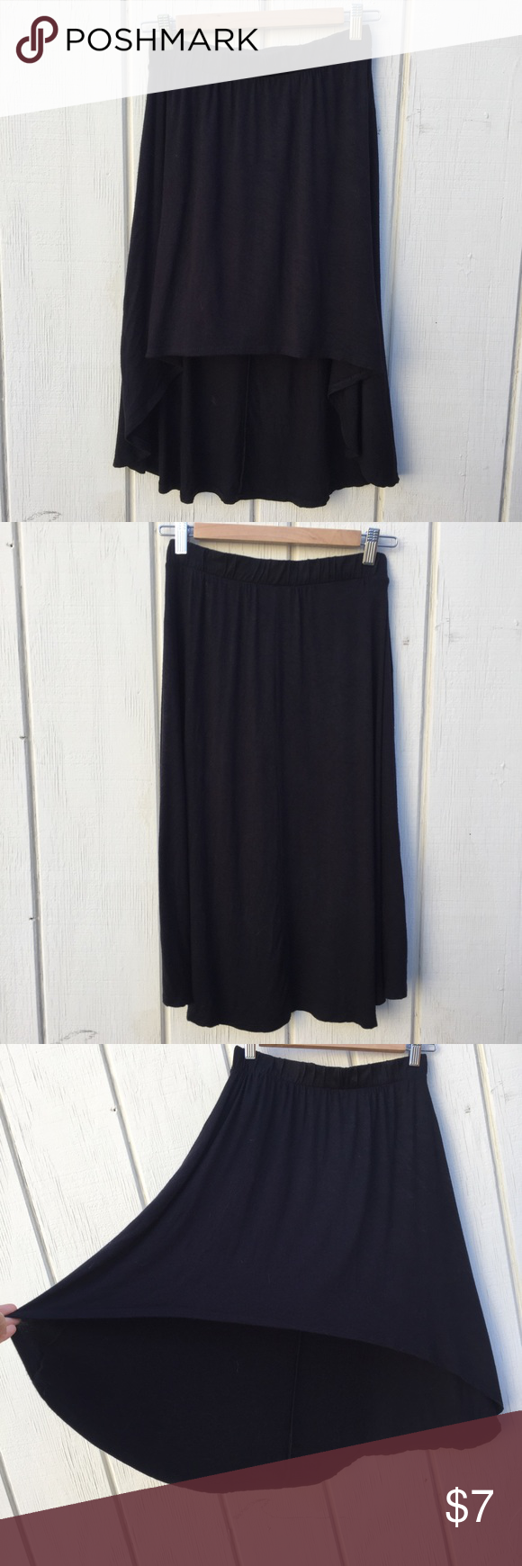 F21 high low skirt Stretchy jersey high low skirt. Elastic waist. No lining. You can wear this on your waist or lower. Front sits above the knee and the back hits mid calf. Worn handful times, but still in great condition! Name tag and size tag are cut off, but it's size S. if you wear M, it'll still fit, but might feel slightly tight around the waist. Forever 21 Skirts High Low