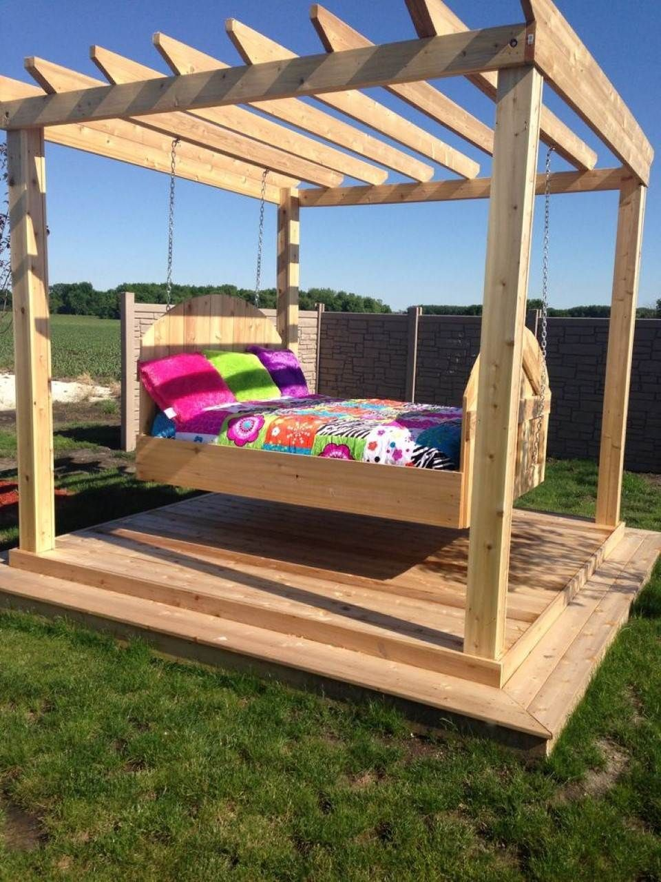 Colour pop coverlet and throw pillows feat comfortable for Diy modern pergola