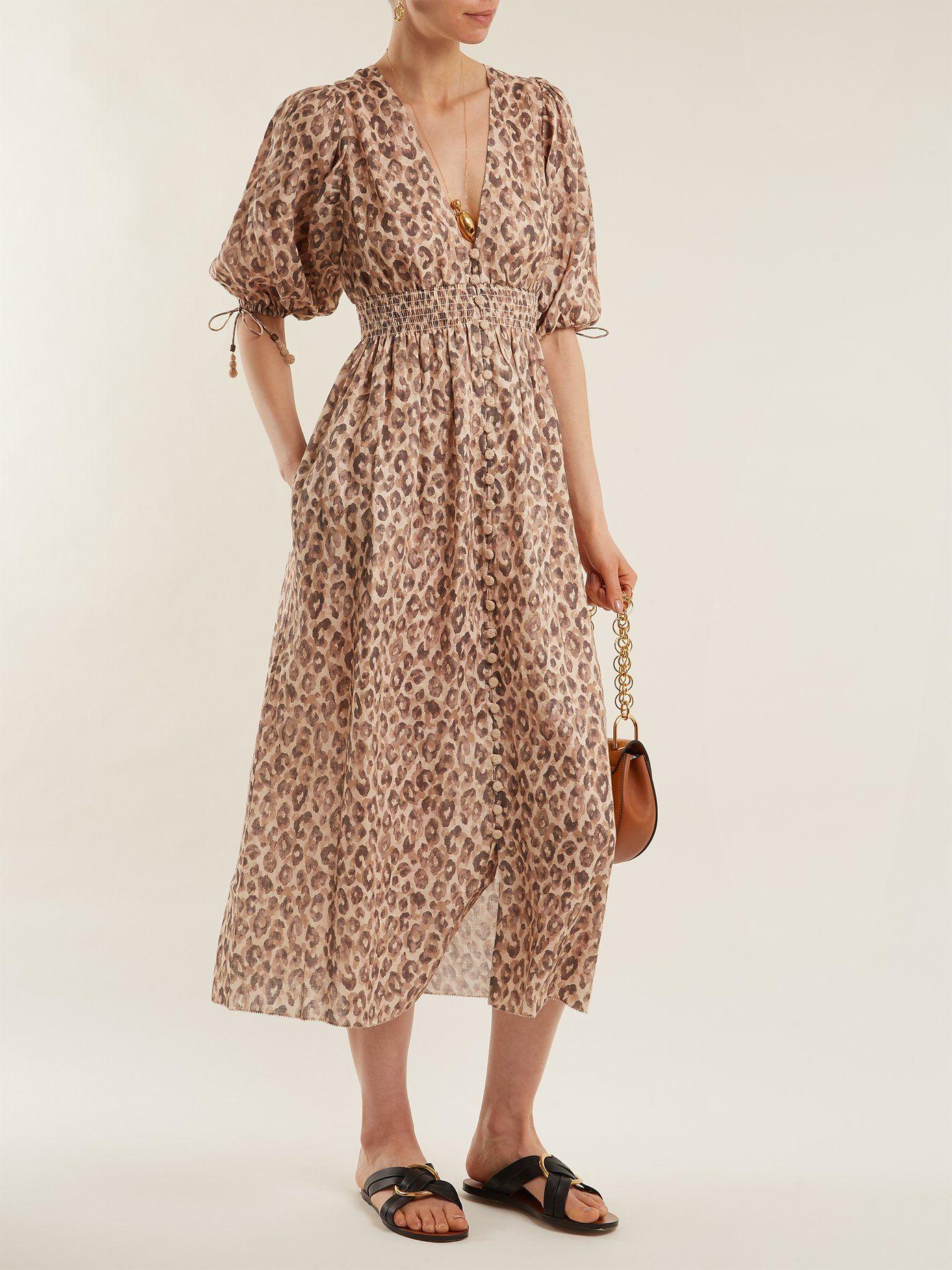 Melody leopard-print linen dress  914858bb1