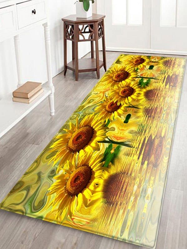 Sunflower Reflection Print Floor Rug Ad Ad Reflection Sunflower Print Rug Floor With Images Floor Rugs Wall Print Design Colorful Rugs