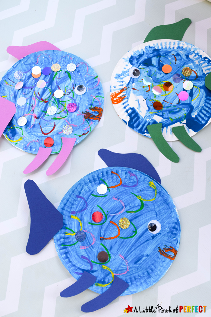 Paper Plate Fish Craft Inspired by The Rainbow Fish -