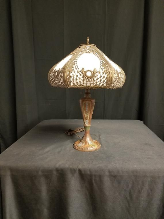 1930 S Table Lamp Vintage Painted Table Lamp Poly Chrome Table Lamp Table Lamp Metal Table Lamps Fabric Shades