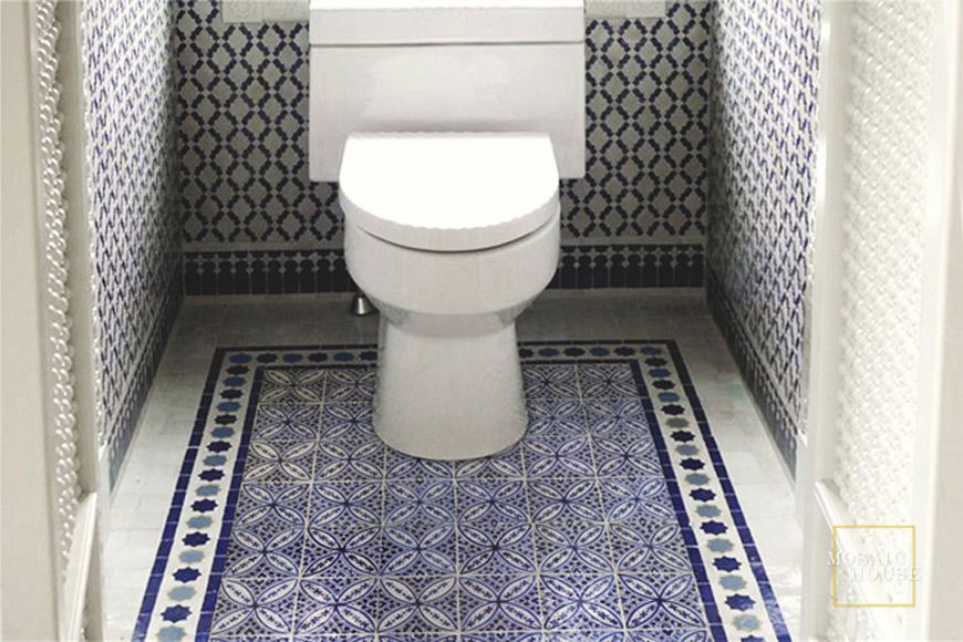 Cobalt Floor Tile Our Line Of Blue Hand Painted Pairs Beautifully With Mosaic