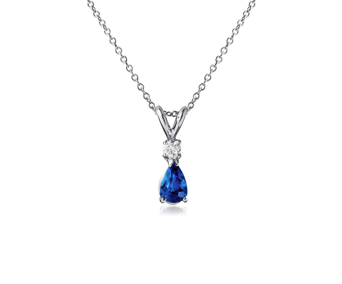 Blue Nile Pear-Shape Sapphire and Diamond Pendant in 18k White Gold (6x4mm) kKmcug
