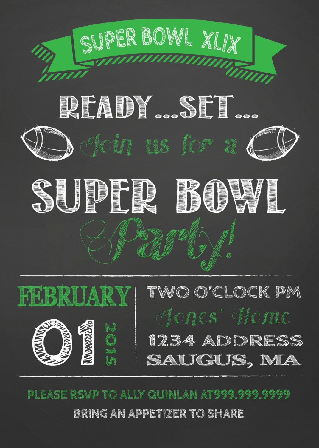 SALE SUPER BOWL Party invitation super bowl invite  Party invite