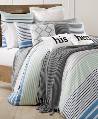 Twin Size 5pc Navy Blue and White Striped Microfiber Nautical Comforter set