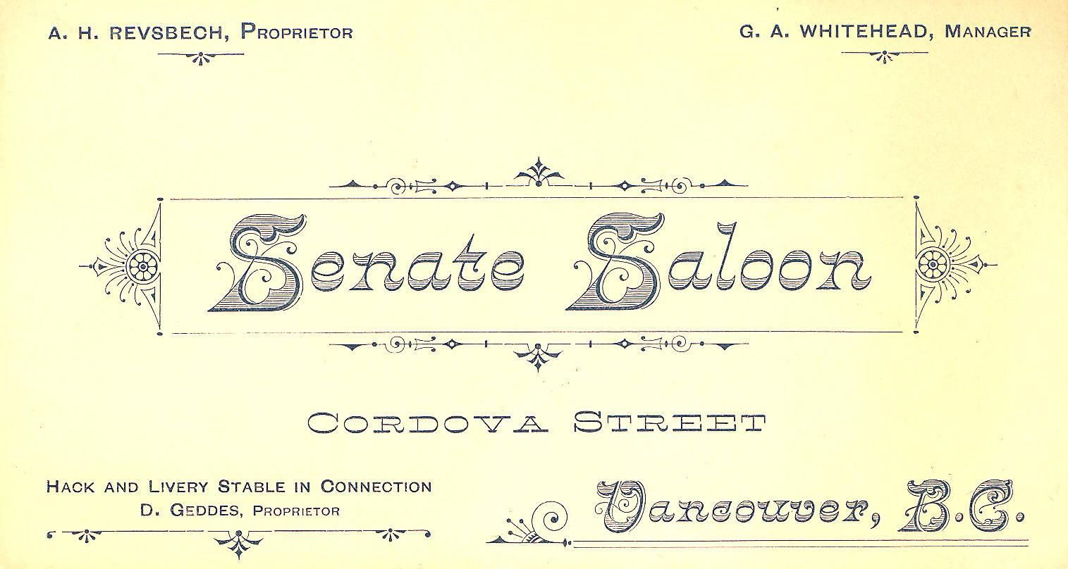 Business card for the senate saloon robert mathison printer business card for the senate saloon robert mathison printer vancouver 1890 reheart Gallery