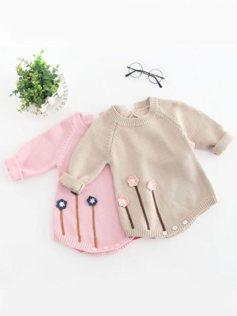 Photo of Flower Applique Cotton Onesie Knitted Jumpsuit Long Sleeve for Infant Baby Girls