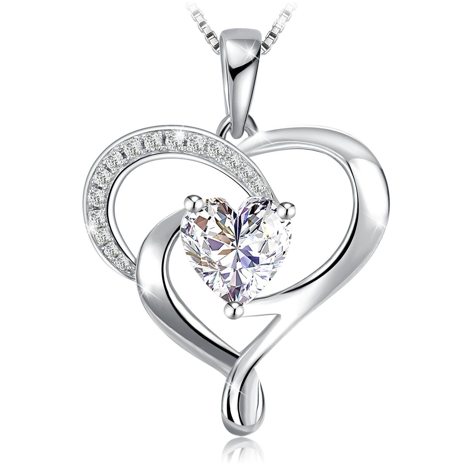 45CM DESIGNER HEART STERLING SILVER PLATED LADIES GIRLS SNAKE CHAIN NECKLACE