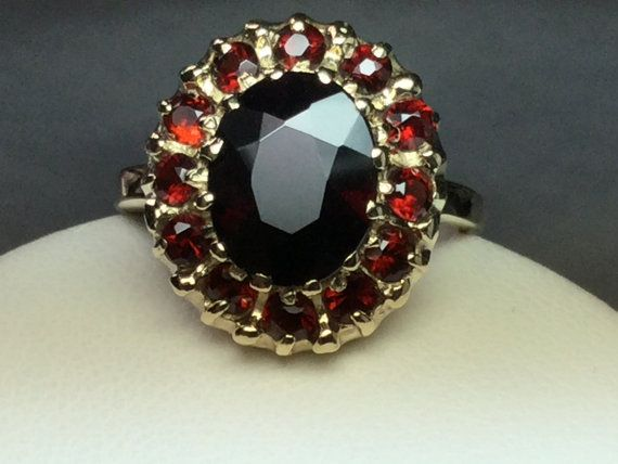 Garnet Halo Ring 10 KT Yellow Gold by anitasjewelhouse on Etsy