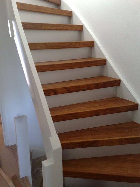Eiken houten overzet treden huis pinterest hout trappen en huizen - Geschilderde houten trap ...