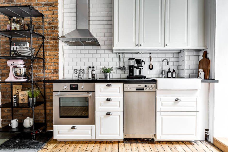Ladrillo visto y azulejo biselado para la cocina TOP!!! Cocina