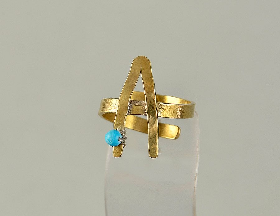Monogram gold ring, letter A brass ring, turquoise ring, pinky finger ring, little finger band, initial hammered ring, personalized jewelry by ColorLatinoJewelry on Etsy