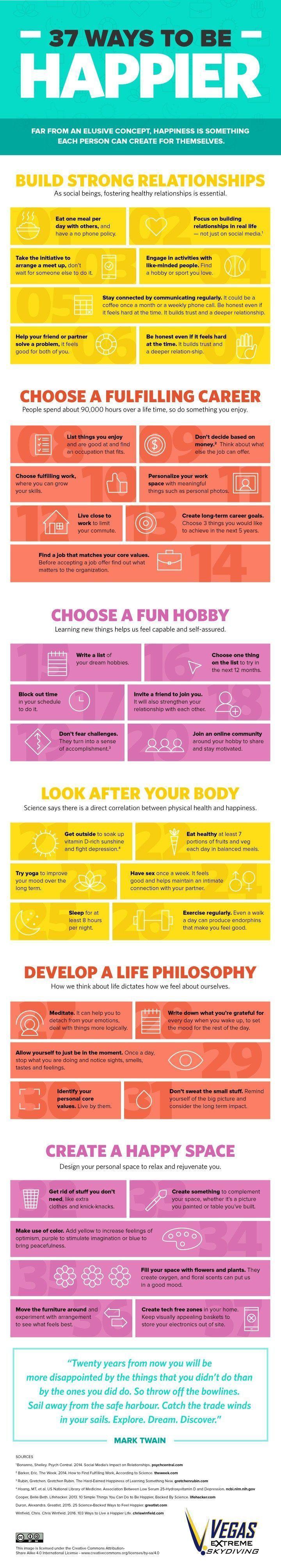 Psychology infographic and charts 37 consejos para ser más feliz en una genial infografía Infographic Description 37 consejos para ser más feliz en una gen