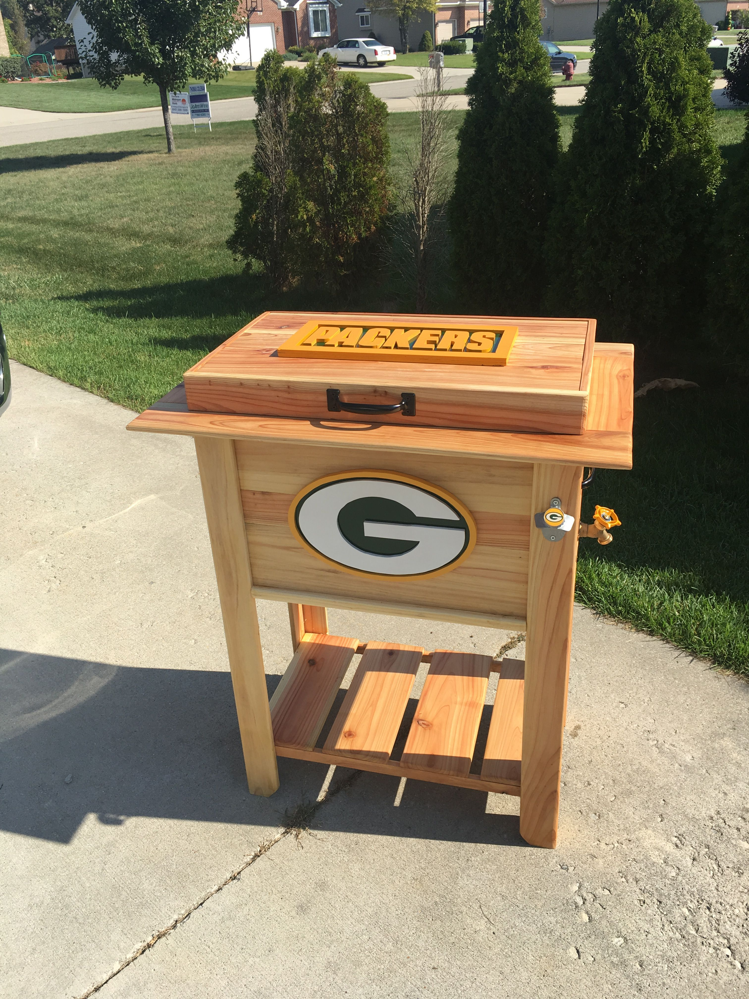 Green Bay Packers Patio Deck Cooler Or Ice Chest Made From Cedar Fence Pickets Includes A 48 Qt Colema Deck Cooler Green Bay Packers Logo Cedar Fence Pickets