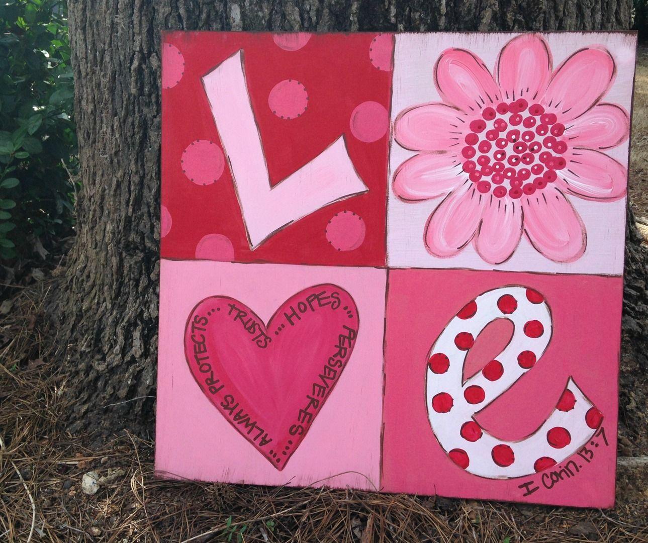 4152900c30cc960a76504797fb84d279 1 289 080 Pixels Valentines Art Canvas Painting Diy