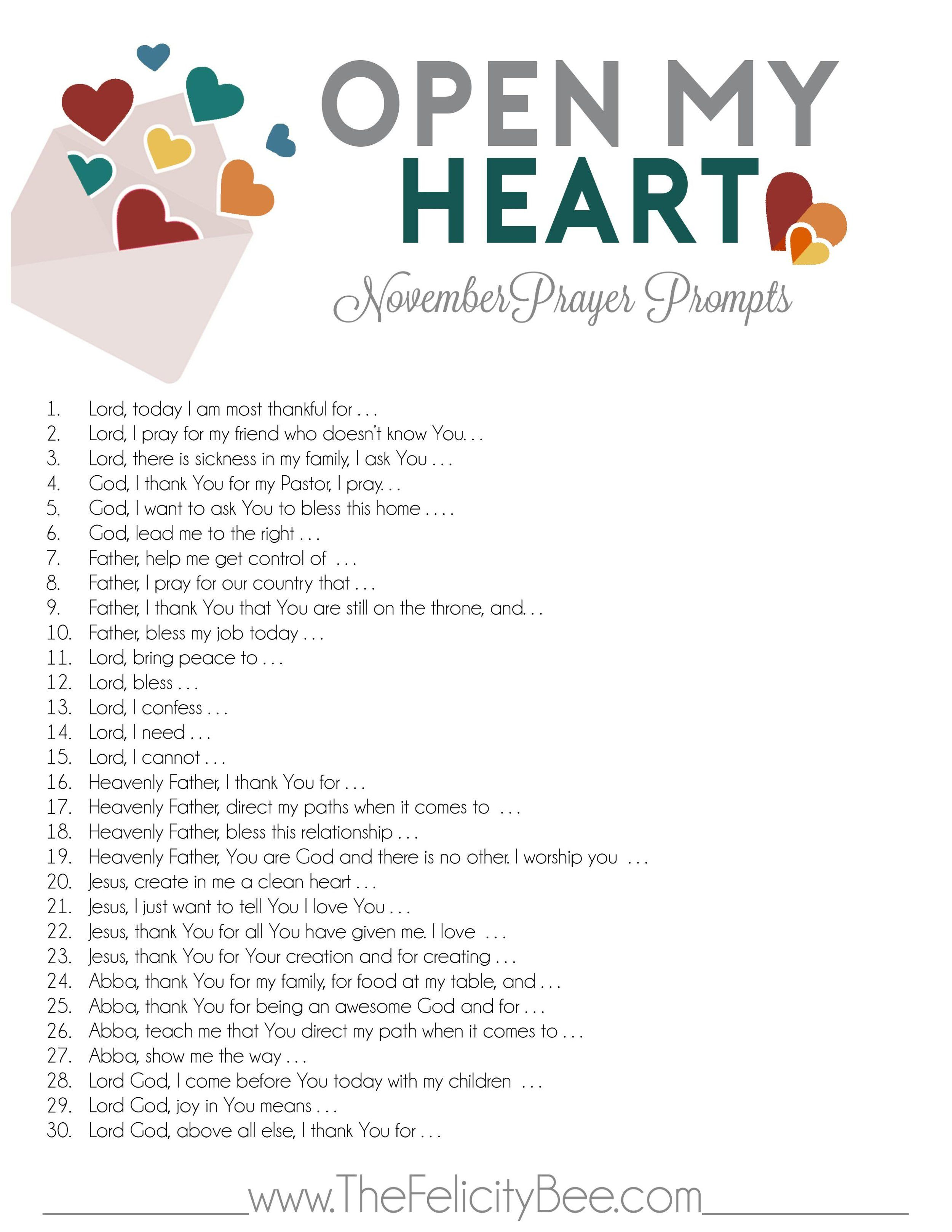 Wedding decorations at church november 2018 Open My Heart November Prayer Prompts  Prompts