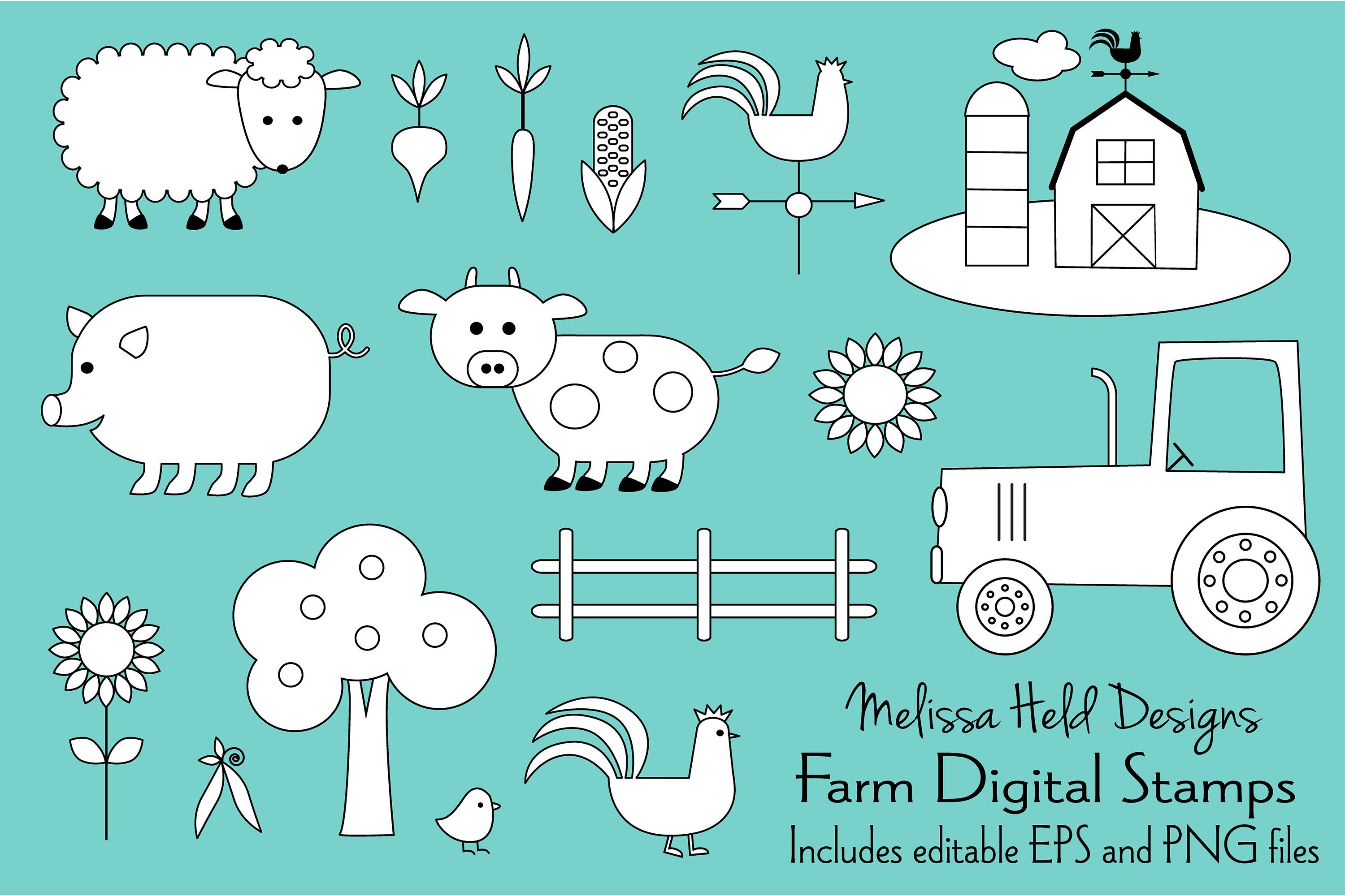 Farm Animals Digital Stamps Clipart (With images