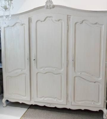 Large French Louis Xv Armoire 3 Door Internal Double Wardrobe With