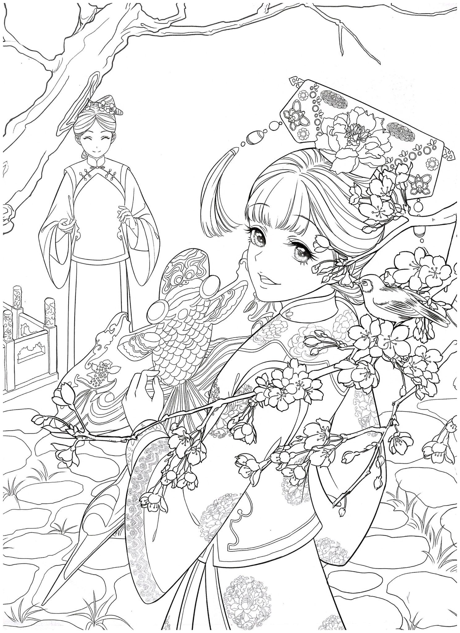 Chinese portrait coloring ebook vol 12 kayliebooks in