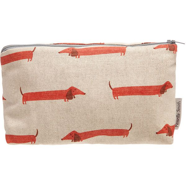 Fenella Smith Dachshund Make Up Bag (€24) ❤ liked on Polyvore featuring beauty products, beauty accessories, bags & cases, red, purse makeup bag, wash bag, cosmetic bag, cosmetic purse and dop kit